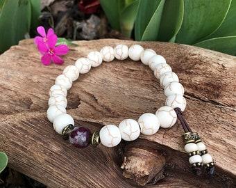 Stillness Within Mala Bracelet   Luxury Mala Beads   Howlite   Tourmaline   Natural Gemstones   Anxiety Relief   Calming   Inner Peace