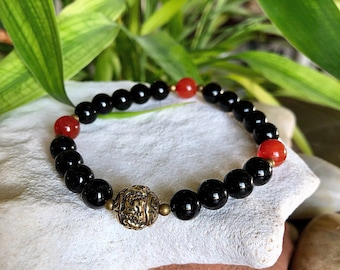 Men's Presence Mala Bracelet | AAA Black Onyx Mala Beads | Red Carnelian | Mani Mantra | Conscious Living | Living in the Present | NOW