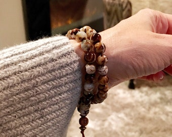 Tashi Double Mala Bracelet | Unique Mala Beads | Wood Grain Agate | Reiki Infused | Health | Wealth | Prosperity | Lifts Insecurities