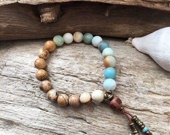 Sattva Mala Bracelet | Luxury Natural Gemstones | Picture Jasper | Amazonite | Reiki Infused Healing Mala Beads | Heart Soothing | Abundance