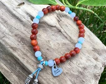 Zen & Content Mala Bracelet   Rare Malaysian Raja Kayu Wood   Blue Lace Agate Gemstones   Healing Mala Beads   Manifests Wishes   Alignment