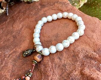 Buddha Calm Bracelet   Bohemian Mala Beads   Yoga Jewelry   White Howlite   Picture Jasper   Eases Anxiety   Reduces Self Criticism