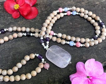 Singing Rainbow Mala Bead Necklace | Sandalwood | 18kt WG Plated Hematite | Rhodochrosite | Blue Lace Agate | Amethyst | Rose Quartz | LOVE