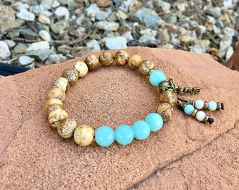 Comfort & Love Bracelet | Luxury Mala Beads | Women Yoga Bracelet | Boho Wrist Mala | Picture Jasper | Amazonite | Love Charm