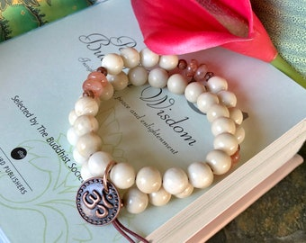 Morning Meditation Double Mala Bracelet | Ivory Fossil Jasper | Peach Sunstone | AAA Natural Gemstones | Antidepressant | Peace | Self Love