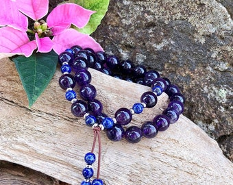 Ascension Double Mala Bracelet | AAA Amethyst | AAA Lapis Lazuli Mala Beads | Spiritual Expansion | Protection | Focus | Anxiety Relief