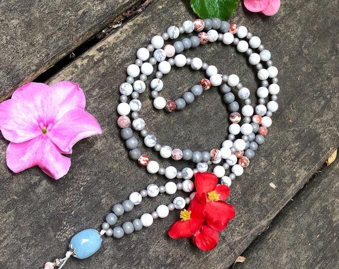 Featured listing image: Peaceful Bliss Mala Bead Necklace | Aquamarine | White Howlite | Brazilian Crazy Lace Agate | Luxury Reiki Infused Gems | Serenity | Joy