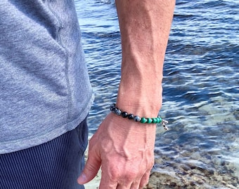 Men's Pure Possibility Mala Bracelet | AAA Natural Malachite | Snowflake Obsidian | Luxury Gemstone Mala Beads | Energy | Transformation