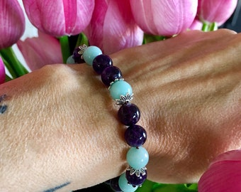 Ease and Flow Mala Bracelet | Luxury Gemstone Mala Beads | AAA Amethyst | AAA Amazonite | Reiki Healing | Relieves Anxiety | Infuses Peace