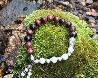 Nirvana Mala Bracelet | Red Tigers Eye | White Magnesite | Reiki Infused Mala Beads | Wrist Mala | Energy | Motivation | Speeds Metabolism