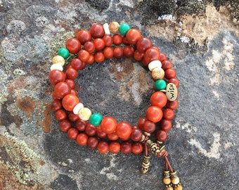 Wish Come True Mala Bracelet Set | Magical Raja Kayu Wood | Reiki Infused Mala Beads | Natural Turquoise | Picture Jasper | Coconut Shell