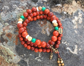 Make A Wish Mala Bracelet Stack | Authentic Raja Kayu Wood | Natural Turquoise | Jasper | Coconut Shell | Healing Mala Beads | Manifestation