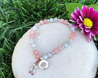 High on Life Mala Bracelet | AAA Peach Sunstone | AAA Blue Flash Labradorite | Luxury Mala Beads | Lotus | Optimism | Worth | Antidepressant