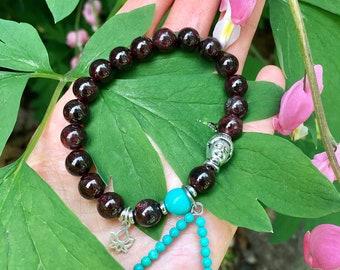 Lotus Light Mala Bracelet | Brazilian Red Garnet | Turquoise | Luxury Gemstone Mala Beads | Sterling Silver Lotus Charm | Passion | Courage