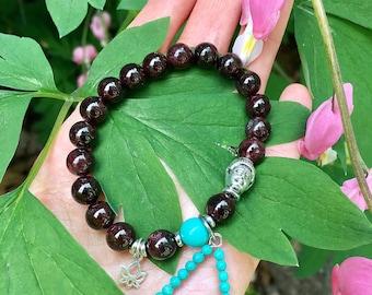 Lotus Light Mala Bracelet | Brazilian Red Garnet | Natural Turquoise | Luxury Mala Beads | Sterling Silver Lotus Charm | Passion | Courage