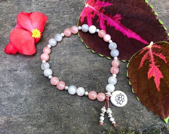 High on Life Mala Bracelet | AAA Peach Sunstone | Labradorite | Luxury Mala Beads | Lotus | Happiness | Worth | Vitality | Antidepressant