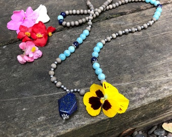 Spiritual Wisdom Mala Necklace | Lapis Lazuli | Amazonite | Graywood | Reiki Infused | Luxury Mala Beads | Insight | Clarity | Reduces Fear
