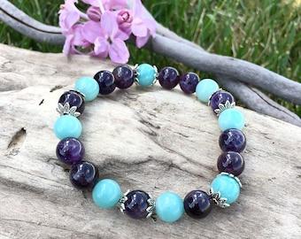Ease and Flow Mala Bracelet   Luxury Gemstone Mala Beads   AAA Amethyst   AAA Amazonite   Reiki Healing   Relieves Anxiety   Infuses Peace