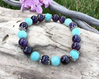 Ease and Flow Mala Bracelet | Luxury Gemstone Mala Beads | AAA Amethyst | AAA Amazonite | Reiki Healing | Relieves Anxiety | Infuses Peace