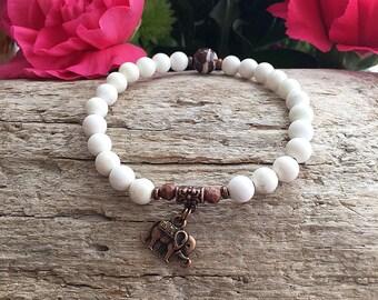 Ganesha Mini Bracelet   Women's Yoga Bracelet   Yoga Beads   Mala Bracelet   Wrist Mala   Magnesite   Zebra Jasper   Success   Love   Energy