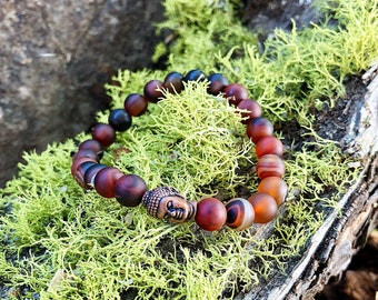 Mens Aura Shield Mala Bracelet | Red Dream Agate | Powerful Reiki Healing Mala Beads | Mental Focus | Heals Anger | Protects Energy Field