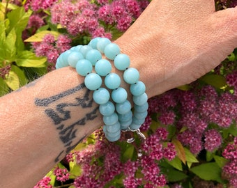 Angel of Abundance Triple Wrap Mala Bracelet | Beautiful Amazonite Gemstone Mala Beads | Confidence | Clarity | Manifest Deep Desires