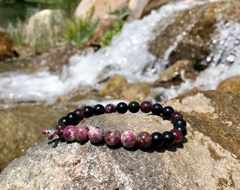 Mens Heartbeat Mala Bracelet | Luxury AAA Gemstones | Rubellite Tourmaline | Black Obsidian | Red Garnet | Clears Energy | Love | Life Force