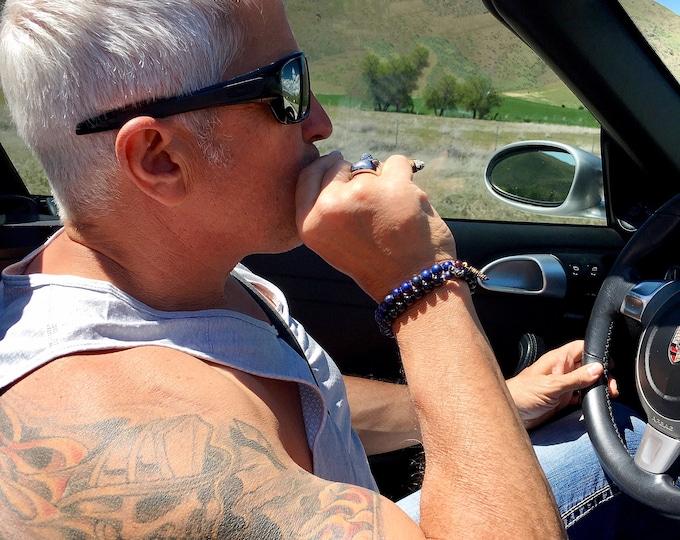 Featured listing image: Men's Deep Peace Set of TWO Mala Bracelets | Blue Lapis Lazuli | Black Onyx | Garnet | AAA Gemstones | Reiki Healing | Inner Peace | Trust