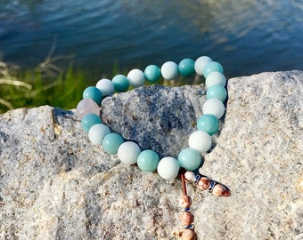 Sea of Calm Mala Bracelet | Luxury Mala Beads | Reiki Healing | Amazonite | Rose Quartz | Picture Jasper | Self Love | Comfort | Clarity