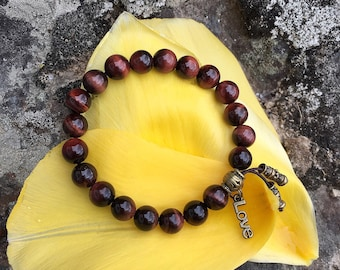 Love & Inspiration Mala Bracelet | AAA Luxury Red Tigers Eye Gemstones | Reiki Healing Mala Beads | Love | Passion | Success | Motivation