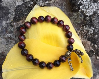 Love & Trust Mala Bracelet | AAA Luxury Red Tigers Eye Gemstones | Reiki Infused Healing Mala Beads | Passion | Drive | Speeds Metabolism
