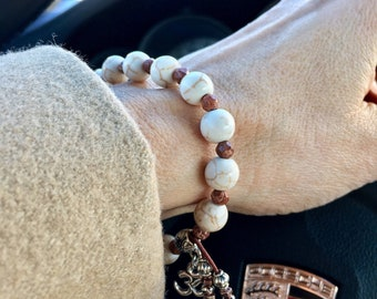 Santosa Content Mala Bracelet | Healing Mala Beads | Howlite | Picture Jasper | Reiki Infused | Comforting | Cools Anger | Reduces Anxiety