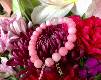 Essence of Love Mala Bracelet | Pink Jade | Rose Quartz | Reiki Infused Mala Beads | Heart Healing | Attracts Love | Soothes Emotions