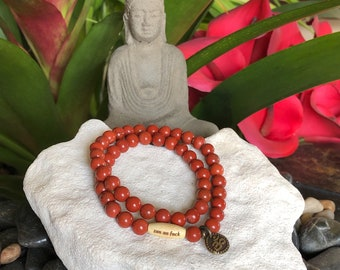 Zen as F#ck Double Mala Bracelet | Reiki Infused Red Jasper Mala Beads | Meditation | Stress Relief | Grounding | Stability | Protection