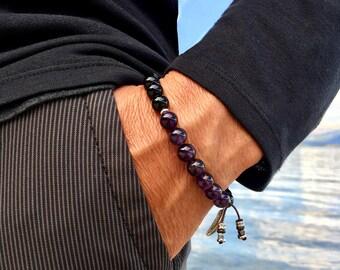 Men's Recovery Mala Bracelet | AAA Luxury Grade Natural Gems | Amethyst | Black Onyx | Wrist Mala | Protection | Strength | Rest