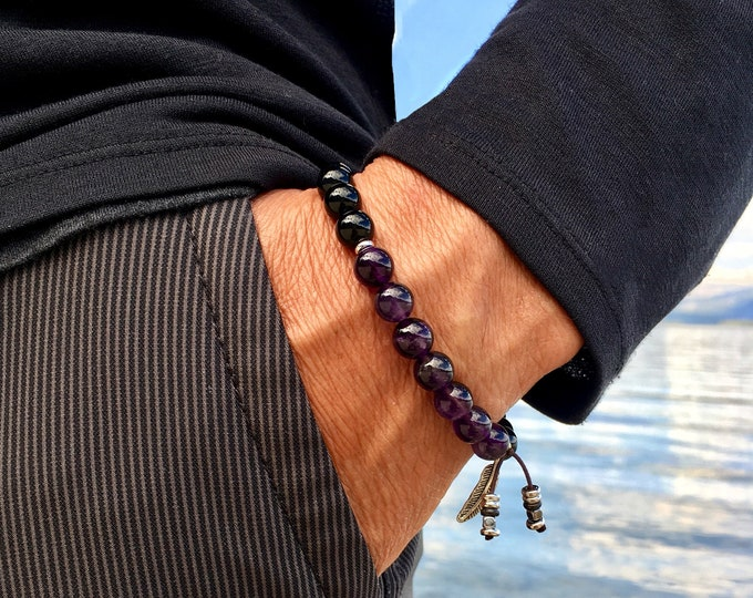 Featured listing image: Men's Recovery Mala Bracelet   AAA Luxury Grade Natural Gems   Amethyst   Black Onyx   Wrist Mala   Protection   Strength   Rest