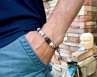 Men's Health & Balance Mala Bracelet | Healing Mala Beads | Wrist Mala | Zebra Jasper | Reiki Infused | Energy | Strength | Pain Management