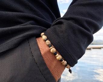 Men's Comfort Mala Bracelet | Healing Mala Beads | Matte Picture Jasper | Black Obsidian | Stability | Harmony | Balance | Protection