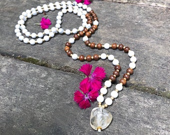 Clear Path Mala Necklace | White Howlite | Madre De Cacao Wood | Citrine | Reiki Infused | 108 Mala Beads | Meditation | Clarity | Direction