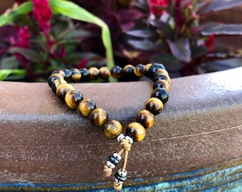 Willpower Mala Bracelet | Golden Tigers Eye | Black Tourmaline | Luxury Gemstone Mala Beads | Reiki Infused | Personal Power | Confidence
