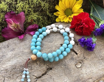 Dharma Double Mala Bracelet | Luxury Blue Amazonite | White Magnesite | Reiki Infused | Confidence | Tranquility | Abundance | Self Love