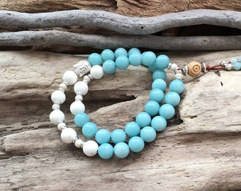 Dharma Double Mala Bracelet | Luxury Amazonite | White Magnesite | Reiki Infused | Confidence | Abundance | Self Love | Eases Worry