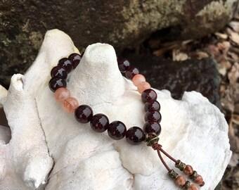 Intimate Connection Mala Bracelet   AAA Luxury Natural Gemstone Mala Beads   Garnet   Sunstone   Picture Jasper   Intimacy   Love   Trust