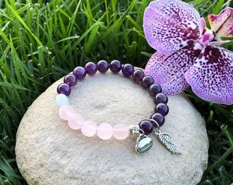 Love & Recovery Mala Bracelet   Reiki Infused Mala Beads   Angel Wing   Amethyst   Rose Quartz   Aquamarine   Clarity   Resolve   Self Love
