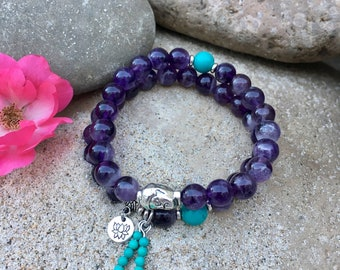 Mystic Bracelet Stack | Set of Two Mala Bead Bracelets | Gorgeous Natural Amethyst & Turquoise | Reiki Infused | Focus | Clarity | Intuition
