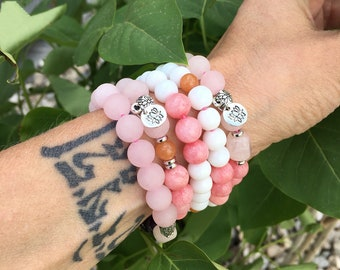 Layers of Love & Light SET of FIVE Mala Bead Bracelets | Rose Quartz | Pink Jade | Purple Amethyst | Orange Adventurine | White Jade