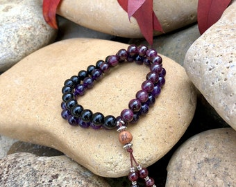 Men's Shiva Double Mala Bracelet | Luxury Gemstone Mala Beads | AAA Purple Amethyst | Red Garnet | Black Onyx | Strength | Resolve | Drive