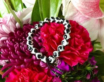 Spiritual Growth Mala Bracelet | Black and White Patterned Dzi Agate | Natural Reiki Infused Mala Beads | Balance | Realigns Energy Field