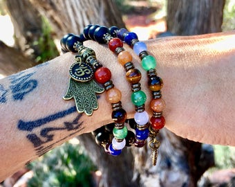 Seven Chakra Set | One Double Wrap Bracelet and One Single Wrap Bracelet | Yoga | Stack Mala Beads | Reiki Infused | Balances All Chakras