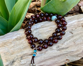 Kama Desire Double Mala Bracelet | Beautiful Garnet & Amazonite Gemstones | Healing Mala Beads | Passion | Kundalini | Stimulates Metabolism